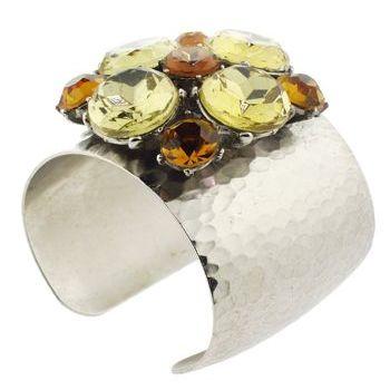 Gerard Yosca - Silver Cuff w/Aurora Borealis Stone Trova Brooch