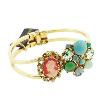 Gerard Yosca - Turquoise Stone w/Cameo on Golden Hued Hinged Cuff (1)