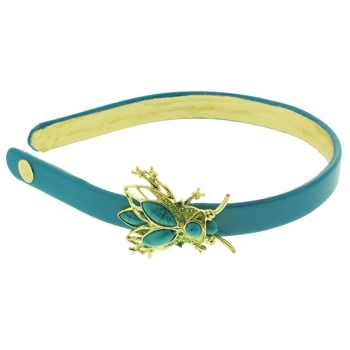 Lily Posh - Patent Leather Headband w/Crystal Encrusted Beauty Bug - Turquoise (1)