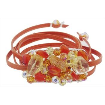 Rachel Abroms - Mosaic Jeweled Wrap - Orange  :  fashion designer jewelry hair boutique
