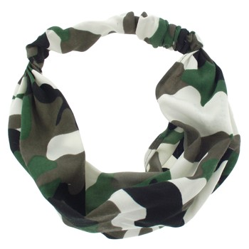 SOHO BEAT - Camo Chic - Bandeau Stretch Headbands - Brown and White Base Camp