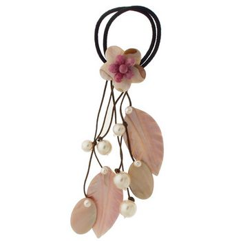 Jane Tran - A Ponytail w/Hanging Rose Quartz & Shells - Rose w/Chocolate