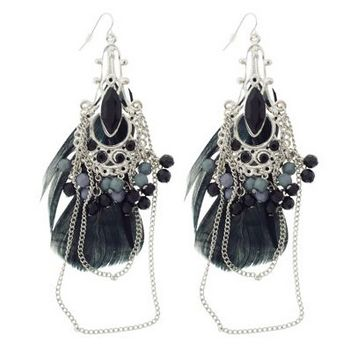 SOHO BEAT - Gypsy Love - Feather, Bead, and Gemstone Chandelier Earrings - Black Onyx