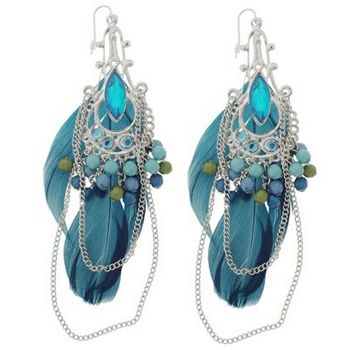SOHO BEAT - Gypsy Love - Feather, Bead, and Gemstone Chandelier Earrings - Sapphire