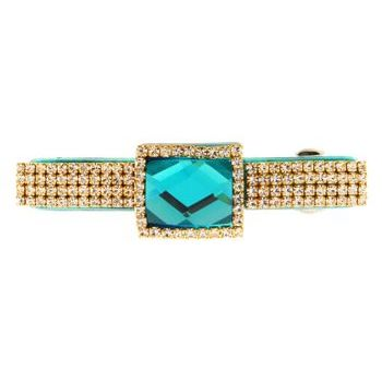 Karen Marie - Baby Colossal Diamond Buckle Barrette - Aqua (1)
