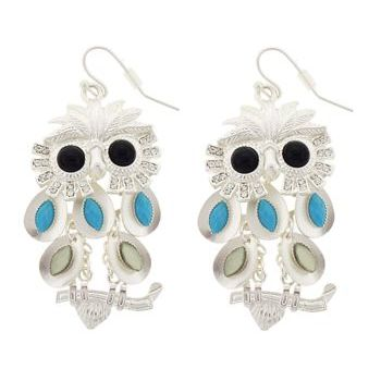 SOHO BEAT - Enchanted Forest - Multi Level Crystal Owl Earrings - Black & Turq