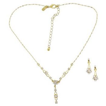 Karen Marie - Bridal Collection - Crystal Flower & Gold Chainlink Necklace & Earring Set (Set of 3 pieces)