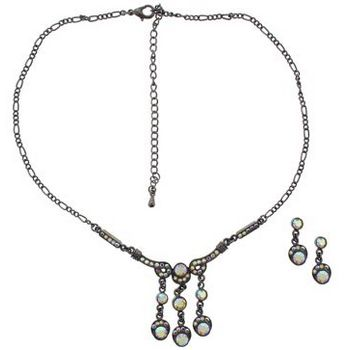 Karen Marie - Bridal Collection - Antique White Ab Crystal Necklace & Earring Set (Set of 3 pieces)