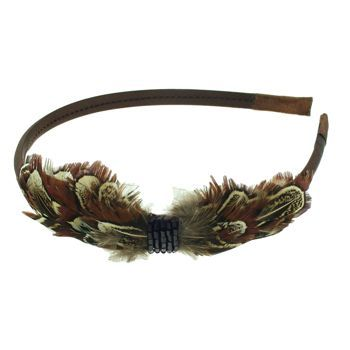 SBNY Accessories - Black Satin Headband with Cocoa Feather Tuft, Black Crystal Center