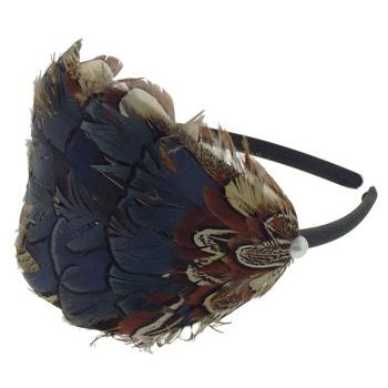SBNY Accessories - Black Satin Headband with Large Cocoa Feather Tuft, Pearl Center