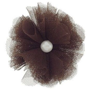 SBNY Accessories - Lace Mini Flower with Pearl Center Hair Clip/Pin - Chocolate
