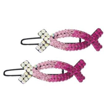 Medusa's Heirlooms - Crystal Oval X Clips - Rose (Set of 2)