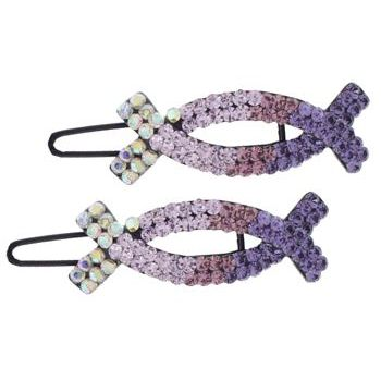 Medusa's Heirlooms - Crystal Oval X Clips - Lavender (Set of 2)