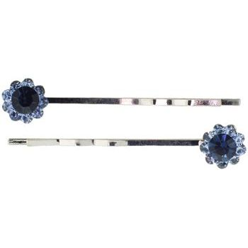 Karen Marie - Crystal Daisy Bobby Pins - Blue (Set of 2)