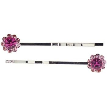 Karen Marie - Crystal Daisy Bobby Pins - Rose (Set of 2)