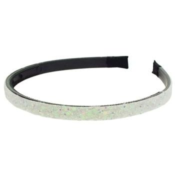 HB HairJewels - Lucy Collection - Small Glitter Headband - White Glitter - 3/8
