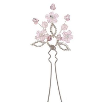 Balu - French Hair Pin w/Pink Flowers & Rhinestones - Pink/Silver (1)
