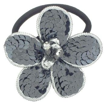 Balu - Sequin Flower Pony Tail - Gun Metal w/Silver Trim (1)