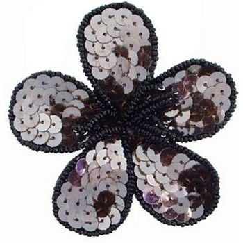 Balu - Sequin Flower Pin - Chocolate Brown w/Black Trim (1)