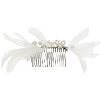 Balu - Feather & Pearl Hair Comb - White (1)