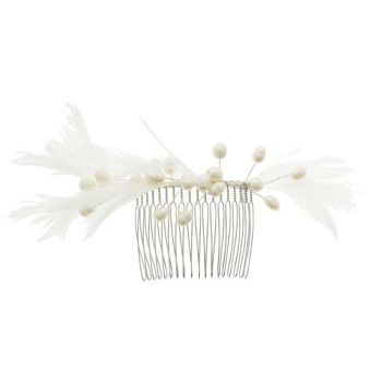 Balu - Feather & Pearl Long Tooth Hair Comb (1)