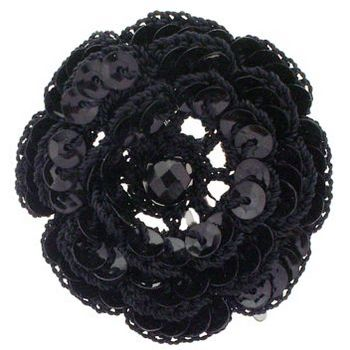 Balu - Crochet Flower Clip - Black w/Sequin Center (1)