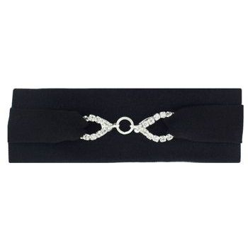 Balu - Satin Barrette - Jet Black w/Crystal Chain (1)