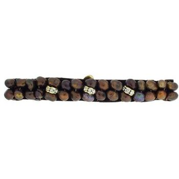 Balu - Double Pearl Barrette w/Crystal Rondels - Chocolate (1)