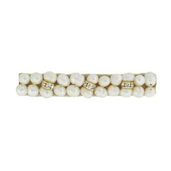 Balu - Double Pearl Barrette w/Crystal Rondels - Small White (1)