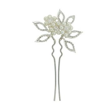 Balu - French Hair Pin w/Pearls & White Rhinestones - Ivory/Silver (1)