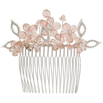 Balu - Rhinestone Flower Hair Comb - Light Pink (1)