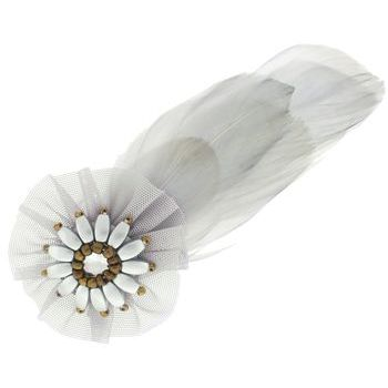 Balu - Tulle & Feather Brooch Pin - Gray (1)