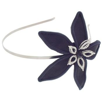Balu - Skinny Headband w/Satin & Crystal Flower - Black (1)