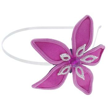 Balu - Skinny Headband w/Satin & Crystal Flower - Fuschia (1)