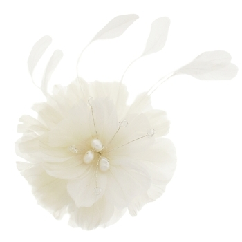 Balu - Flower Feather w/Pearl Hair Comb - Ivory (1)
