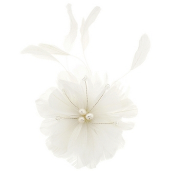 Balu - Flower Feather w/Pearl Hair Comb - White (1)