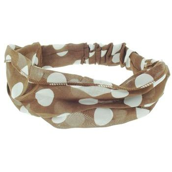 HB HairJewels - Lucy Collection - Polka Dot Scarf Bandeau - Milk Chocolate (1)