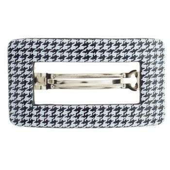HB HairJewels - Lucy Collection - Rectangle Buckle Barrette - Houndstooth (1)