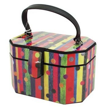 Karen Marie - Boutique Bags - Dottie Stripes Octagonal Jewel Box