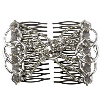 Evita Peroni - Aurele Double Comb - Silver - Connected Beaded Combs