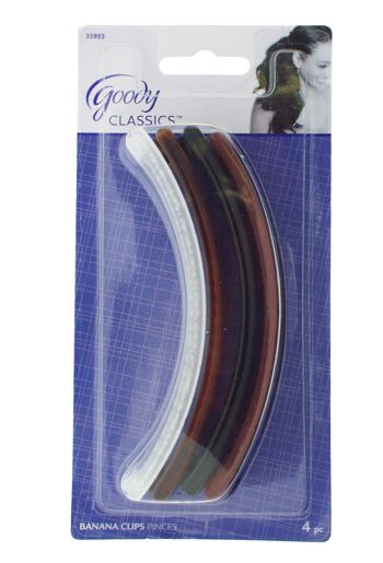 Goody - Shelli Banana Clips - Black, Auburn, Tort & Frosted White (Set of 4)