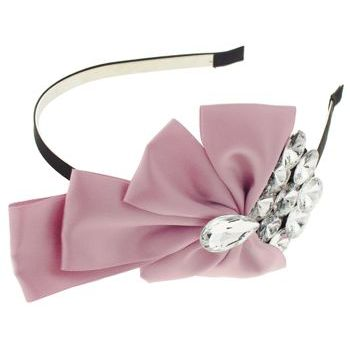 SOHO BEAT - Tea Party Collection - Satin Ribbon & Crystal Fan Headband - Dusty Rose (1)