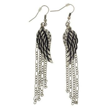 SOHO BEAT - Fashion Heaven - Crystal Encrusted Angel Wing Earrings - Pewter