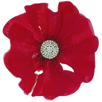 Karin's Garden - Large Poppy with Dazzling Crystal Center - Red