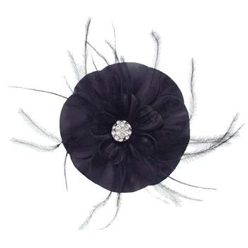Karin's Garden - Large Leather and Feather Flower with Dazzling Crystal Center - Black