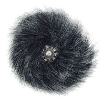 Karin's Garden - Faux Fur w/Crystal & Pearl Center Clip - Smoke (1)