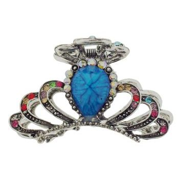 SOHO BEAT - French Fashionista - Moonstone and Crystal Jaw Clip - Blue Topaz