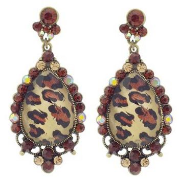 SOHO BEAT - Wild About Town - Crystal Dome Drop Earrings - Cheetah