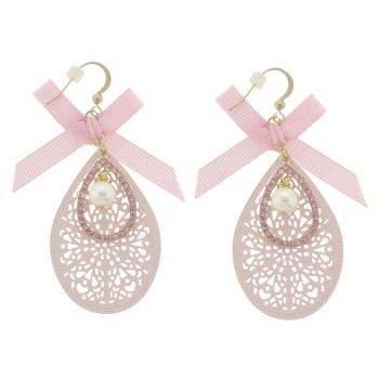 SOHO BEAT - Little Bow Peep - Pearl, Bow, and Crystal Filigree Drop Earrings - Cotton Candy Pink