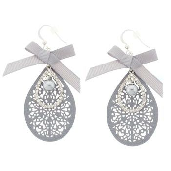 SOHO BEAT - Little Bow Peep - Pearl, Bow, and Crystal Filigree Drop Earrings - Grey